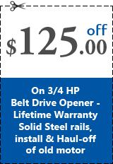 Save $125 On 3/4 HP Belt Drive Opener